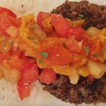 Black bean burgers with tropical salsa