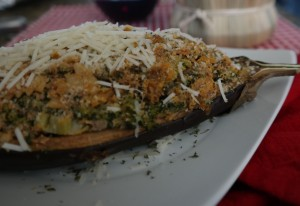 Spaghetti Stuffed Eggplant