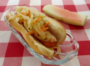 Watermelon Rind Coleslaw Hot Dog