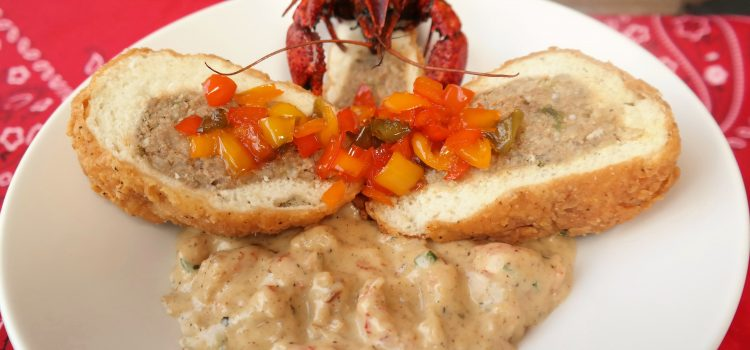 Stuffed Bread with Crawfish Buttercream Sauce & 5 Pepper Jelly