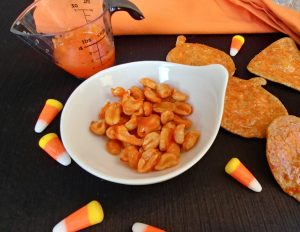 Candy Corn Coated Tortilla Nuts and Chips